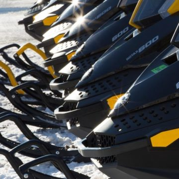 snowmobiles in line